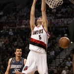 The spanish connection . . . Rudy Fernandez dunks after a pass from Sergio Rodriguez